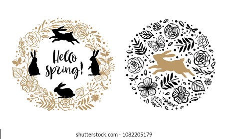 Hello spring. Silhouette of a rabbit in the flower circle and wreath. Calligraphy card. Hand drawn design elements. Handwritten modern brush lettering. Vector illustration.