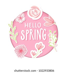 Hello spring text in pastel pink paper clip art with flowers and hand drawn branches.