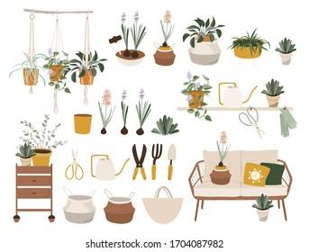 Hello spring time. Balcony gardening tool set. Vector illustration of garden elements: spade, pitchfork, wheelbarrow, plants, watering can, grass, garden gloves, rattan sofa,  hyacinth.