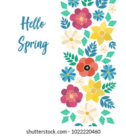 Hello spring typography poster with cute colorful flowers in flat style. Vector illustration for 8 March Woman's Day, Mother's Day, greeting cards, invitations. flower border background, template.