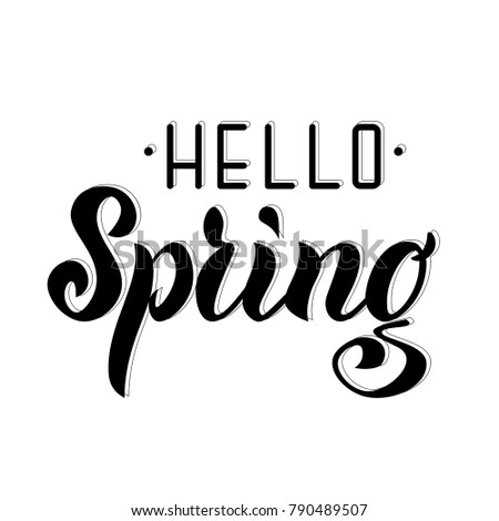 Hello Spring Vector Lettering Calligraphy Sign Stock Vector Royalty