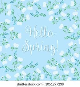 Hello Spring! White flowers on blue background - vector illustration eps10