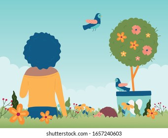 hello spring woman sitting with potted tree flowers bird grass foliage vector illustration