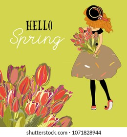 Hello Spring.. Young girl with tulips bouquet. Vector illustration of spring tulips on  green background