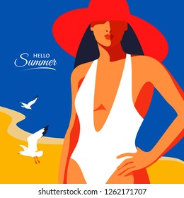 Hello Summer. Abstract girl wearing swimsuit and big hat, standing on the beach. Sea background with gulls. Vector illustration