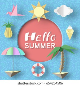 Hello Summer Art Background. Paper Applique Symbols, Sign and Objects with Text illustrate the Greeting of the Summertime. Template for Banner, Card, Logo, Poster, Label. Design Vector Illustrations.