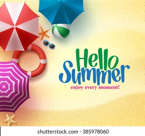 Hello Summer Background with Colorful Umbrella, Beach Ball, and Lifebuoy in the Sand Sea Shore for Summer Season. Vector Illustration