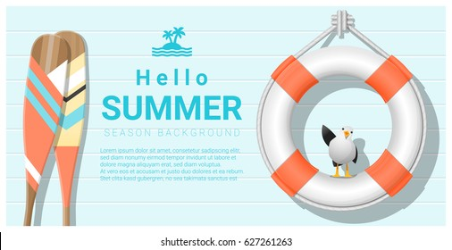Hello summer background with lifebuoy and canoe paddle , vector , illustration