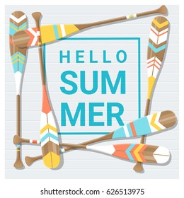 Hello summer background with painted canoe paddle , vector , illustration