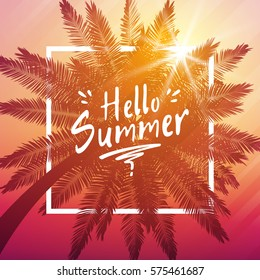 Hello summer background with palm and frame.
