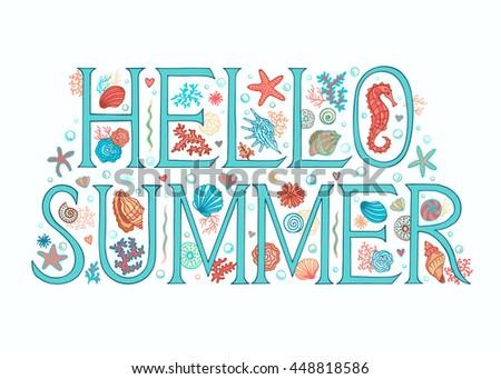 Hello summer background sea beach theme stock vector royalty free hello summer background sea beach theme seasons greeting card printable for universal size m4hsunfo