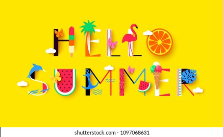Hello Summer background with signs and symbols recreation. Vector illustration