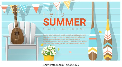 Hello summer background with ukulele on white chair and canoe paddle , vector , illustration