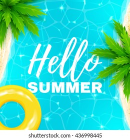 Hello summer banner. Beautiful background on the sea topic with palm trees. Vector illustration.