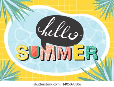 Hello summer banner. Beautiful summer poster with water surface, lettering, palm leaves and checkered background. Design for posters, cards, banner, invitation etc. Vector.