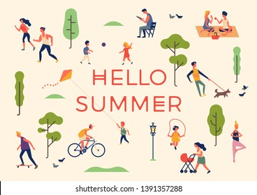 'Hello Summer' banner, poster or card template with people enjoying their time outdoors in park, riding bicycle, jogging, walking, playing ball, doing yoga, flying kite, having picnic, reading