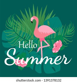 Hello summer, banner, print, background template design, tropical plants,  Flamingo, colorful vibrant tones, text