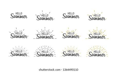 Hello summer. Banner set hello summer with sunburst. Sumer illustration. Text summer in lettering style. Vector illustration