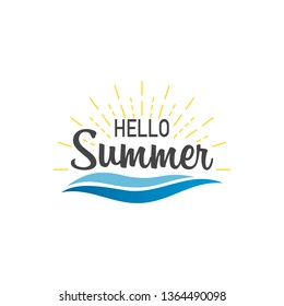 Hello summer. Banner hello summer with sunburst and waves. Sumer illustration. Text summer in lettering style. Vector illustration