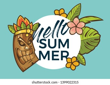 Hello Summer banner with tiki mask and tropical plants design for banner, flyer, invitation, poster, web site or greeting card. vector illustration