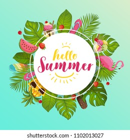 Hello Summer banner.  Summer time wallpaper. Vector illustration
