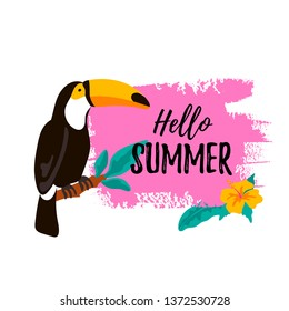 Hello Summer banner with toucan and tropical leaves and flovers. Vector illustration with hand drawn elements