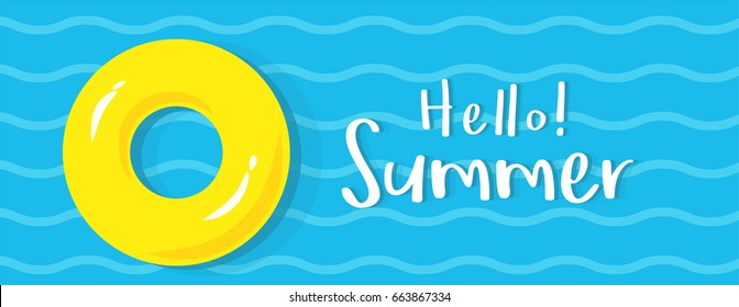 Hello! Summer banner vector illustration, Yellow rubber ring floating on water.