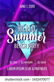 Hello summer beach party disco poster with lettering, palm trees and laser beams in trendy neon colors. Vector backround.
