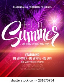 Hello Summer Beach Party Flyer. Vector Design EPS 10