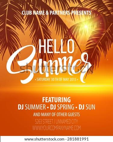 Hello Summer Beach Party Flyer Vector Stock-Vektorgrafik (Lizenzfrei ...