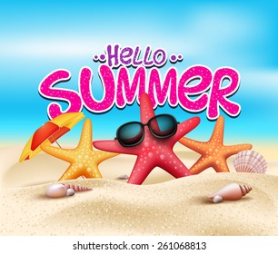 Hello Summer in Beach Seashore with Realistic Objects. Vector Illustration.