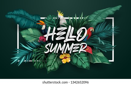 Hello Summer with Birds collection and tropical plants background