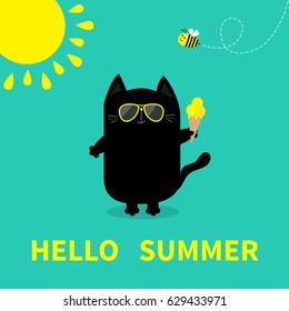 Hello summer. Black cat holding Ice cream. Yellow sun, sunglasses. Bee insect. Cute cartoon character. Greeting card. Funny pet animal collection. Flat design. Green background. Vector illustration