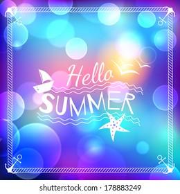 Hello summer blurry background