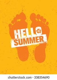 Hello Summer. Bright Creative Footprint Sand Beach Vector Illustration Concept On Distressed Background.