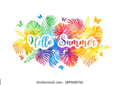 Hello summer bright rainbow banner, postcard. Vector Watercolor splash background