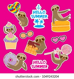 Hello Summer bright tropical card banner design, fashion patches badges stickers. Kawaii cute face sloth collection with cake pops, donut, lollipop, waffle, macaroon on pink background. Vector