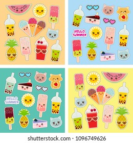 Hello Summer bright tropical card design, fashion patches badges stickers. Applicable for Banners, Poster. Pineapple, cherry smoothie cup, ice cream, sun, cat, cake, hamster. Kawaii cute face. Vector