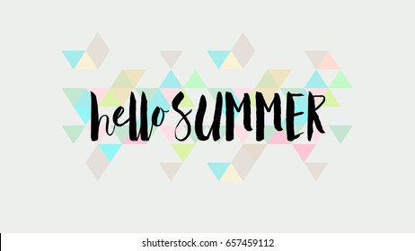 Hello summer calligraphic quote on fresh colorful abstract pattern, isolated, for positive thinking, optimism and happiness. aspect ratio 16:9.