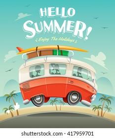 Hello summer! Camper van. Summer vacation.