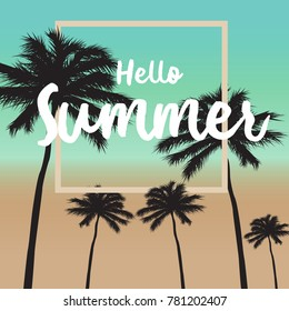 Hello summer card and summer background  -vintage style