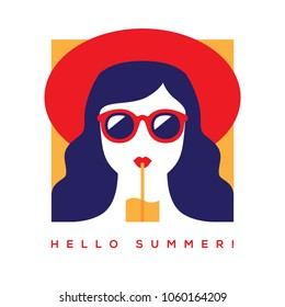 Hello summer card, banner or poster design with girl in red summer hat and sunglasses drinking cocktail. Flat illustration in retro style.