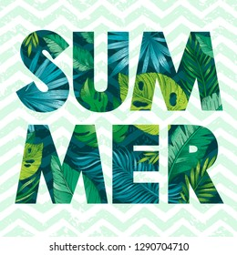 Hello Summer card poster with text, tropic leaf seamless pattern. Hand drawn doodle flyer art with summertime symbols & paradise element for party invitation, print design. Vector zig zag background