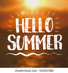 Hello Summer card with Sunset Background. Vector Illustration