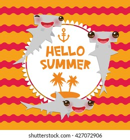 Hello Summer Cartoon gray Smooth hammerhead Winghead shark Kawaii with pink cheeks and winking eyes smiling. Round card design, banner template on orange red waves sea ocean background. Vector