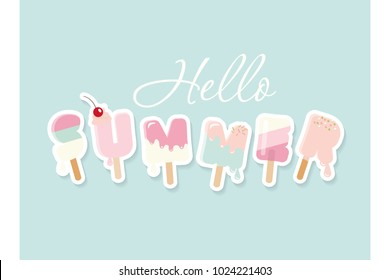 Hello summer. Cartoon ice cream letters. Cute design for posters, banners, advertising.