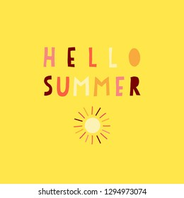 Hello Summer collage paper cut out style illustrated vector text in pink coral red on yellow. Contemporary collage style lettering. For seasonal greeting card design, women, girl, web banner, post.