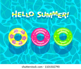 """Hello summer"" - colorful banner. The texture of the water in the pool with colored inflatable circles. view from above. flat vector illustrations"