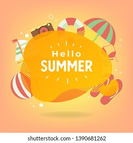 Hello Summer with colorful beach elements and circle for text.