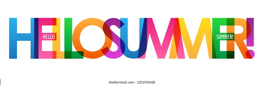 HELLO SUMMER! colorful typography banner